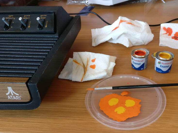 Mixing The Humbrol Enamel Paints For The Atari 2600 Bezel Orange