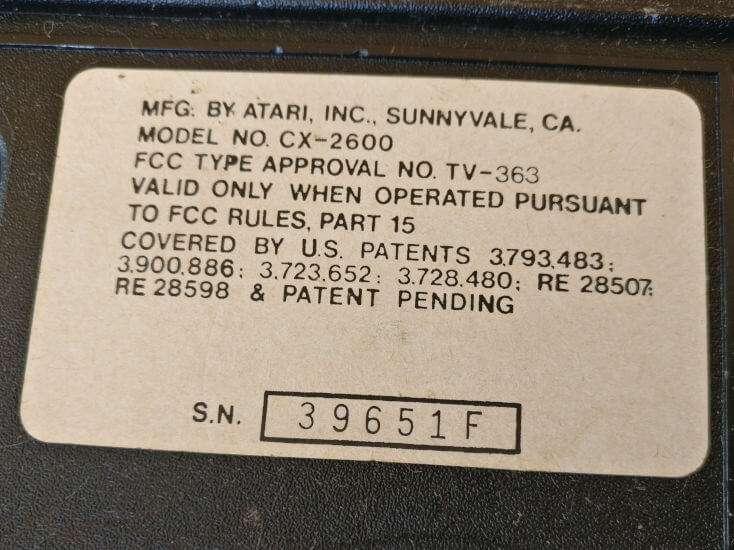 Atari VCS Mfg. In Sunnyvale, CA Sticker