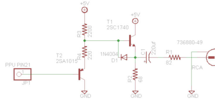 Twin Famicom Composite Video Output Circuit Schematic