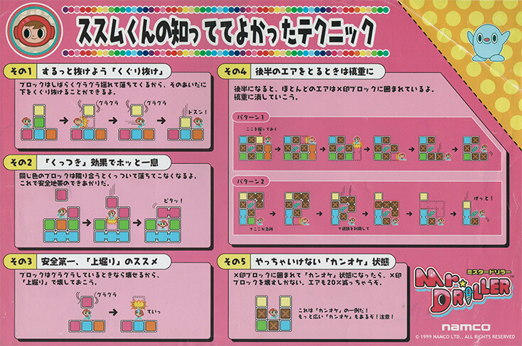 Mr Driller Japanese Arcade Marquee Instructions